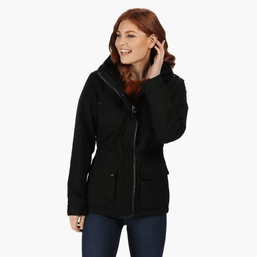 Women's Lizbeth Waterproof Insulated Jacket With Concealed Hood Black
